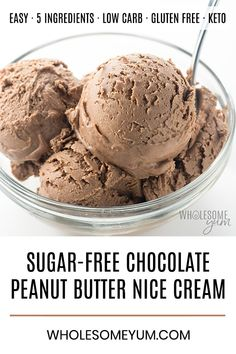 Chocolate Peanut Butter Nice Cream Recipe - Learn how to make nice cream without bananas or an ice cream maker! This delicious chocolate peanut butter nice cream recipe is sugar-free, low carb, keto and vegan. Just 5 ingredients and 5 minutes prep time! Sugarfree Icecream, Sugarfree Ice Cream Recipe, Sugar Free Chocolate Ice Cream Recipe, Low Carb Chocolate, Delicious Chocolate, Ice Cream Recipes, Chocolate Banana Ice Cream, Banana Nice Cream, Peanut Butter Ice Cream