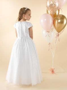 LWCD37 Communion Dress Holy Communion Dresses, First Holy Communion, Little White, Holi, Cap Sleeves, Bodice, Tulle, Flower Girl Dresses, Sequins
