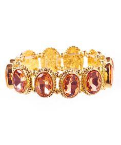 Another great find on #zulily! Gold & Peach Crystal Stretch Bracelet by Stella + Ruby #zulilyfinds