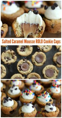 Salted Caramel Mousse ROLO Cookie Cups - Who could resist these little gooey cookie cups loaded with mini chocolate chips, ROLOs and a fluffy caramel mousse filling? Mini Desserts, Easy Desserts, Delicious Desserts, Plated Desserts, Rolo Cookies, Yummy Cookies, Shortbread Cookies, Baking Recipes, Cookie Recipes