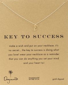 """Key To Success"" Pendant Necklace. Graduation gifts for girls"