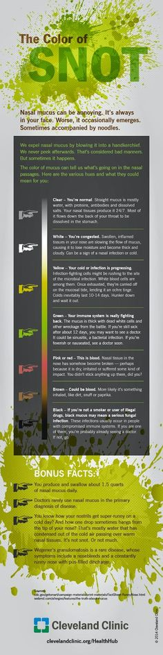 Color of snot infographic by the Cleveland Clinic.