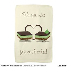 Mint Love Nanaimo Bars   Kitchen Towel   We are mint for each other #cute #adorable #kawaii #couple #couples #valentine #valentines #valentinesday #vday #gift #present #kitchen #towel #mint #cake #sweet #love #heart #affiliate Nanaimo Bars, Bar Gifts, Love Gifts, Valentine's Day Drinks, Love Puns, Valentines Day Food, Cute Food, Kitchen Towels, Place Card Holders