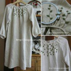 리넨옷 만들고 앞에 수 곁들였어요. #소금빛자수 #리넨옷에수놓기 #모사자수실 #자수재료 #linenclothes #embroidery