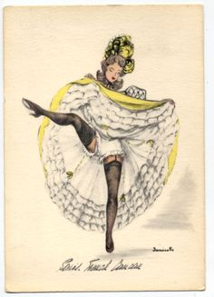 V1717 RISQUE FRENCH CAN CAN DANCER BY JANICOTTE POSTCARD in Collectibles, Postcards, Risque | eBay