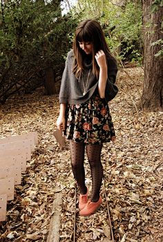 dress & tights combination, I love this outfit. I'd wear it every day.