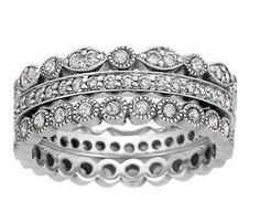 18K White Gold Luxe Antique Eternity Diamond Ring Stack (over 1 ct.tw.)