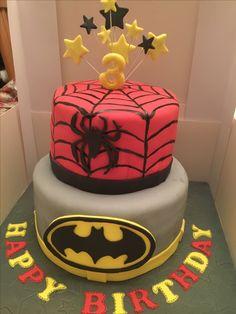 Spider-Man and batman cake