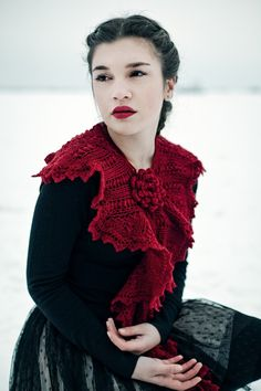 Hand knitted scarf by @EmmaSommerfeld    This knitted scarf as you see it in the picture is made of a very soft merino yarn in a dark cherry red. Wearable in different styles as collar, capelet or scarf, with a brooch made of two beaded flowers. Very romantic, very elegant, really unique - a touch of luxury!    length: 180 cm at the shorter side, width: 35 cm at the widest side.    http://www.etsy.com/listing/65426413/lace-knitted-scarf-victorian-romantic