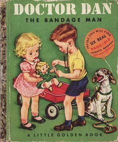 In 1950, the publishers of Little Golden Books published Doctor Dan The Bandage Man, about a little boy named Dan who is out playing with his friends and scratches his finger.