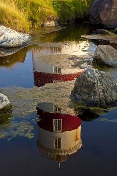 Pointe-des-Monts Lighthouse by Maurice Pitre--Quebec, Canada Reflection Photography, Beacon Of Light, Water Reflections, Mirror Image, Historical Sites, Belle Photo, Great Photos, Beautiful Pictures, Scenery
