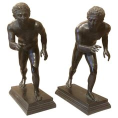 Grand Tour Bronzes of Wrestlers after the Roman Originals   From a unique collection of antique and modern sculptures at https://www.1stdibs.com/furniture/decorative-objects/sculptures/