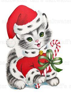 Vintage Christmas Kitten Card