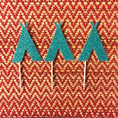 12, 24 or 48 Pc Tribal Teepee Cupcake Toppers - Cupcake Decoration - Gold or Teal