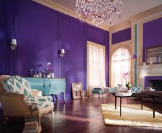 15 Catchy Living Room Designs with Purple Accent | Furniture ...