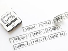 Week Washi Tape 15mm/ Days of the Week Washi Tape/ Black and