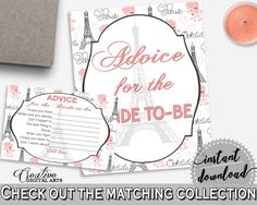Pink And Gray Paris Bridal Shower Theme: Advice For The Bride To Be - advice cards, pariz bridal shower, party organization, prints - NJAL9 #bridalshower #bride-to-be #bridetobe