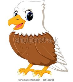 Cute eagle cartoon waving