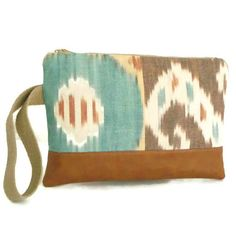 IKAT Wristlet - Clutch Bag - Handwoven Ikat and Distressed Vegan Leather on Etsy, $32.00