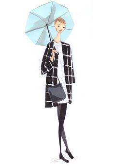 black check coat street style LFW 2014 emma block