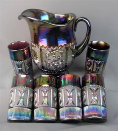 PRINCESS FEATHER by WESTMORELAND ~ PURPLE CARNIVAL GLASS 7PC WATER SET ~ MODERN
