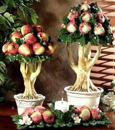 Romantic Provence - Tuscany Capodimonte  Mela Rosa  Apple Topiary Tree-Mela, Intrada, Apple Trees, Capodimonte, Porcelain, Italy, France, Provence, Tuscany,