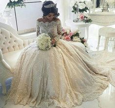 Lace Wedding Dress 2016 Luxury Beading Long Sleeve Muslim Wedding Gowns With Long Train Off Shoulder Vestidos De Noiva Wedding Dresses 2018, Princess Wedding Dresses, Bridal Dresses, 2017 Wedding, Dresses 2016, Cheap Dresses, Dresses Dresses, Ugly Dresses, Bridesmaid Dresses