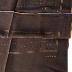 Vintage CHANEL Silk Polka Dot Scarf brown by VintageWithLov
