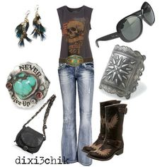 A little bit of a rocker style, with softer country accents, denim, faded tee, scuffed boots, turquoise and feathers