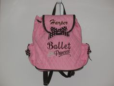 Girls Personalized Backpack-Dance/Ballet Bag-Pink and Brown. $28.95, via Etsy.
