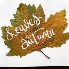 """Ceciel Maakt - Illustraties op Instagram: """"Letteren op bladeren. De herfst, mij favoriete seizoen met zijn prachtige kleuren en heerlijke wind & storm momenten. Ik vind het dan…"""" Markers, Diys, Doodles, Christmas Ornaments, Holiday Decor, Instagram, Paper, Sharpies, Bricolage"""