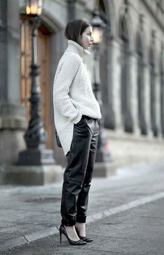 Oversize knits work and oversize trousers
