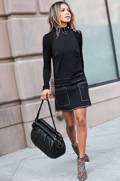 Julie Sarinana - 3 H&M looks with who what wear | jeans pocket style embroidered drop waist denim-look black mini dress