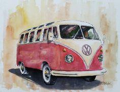 Vintage V.W. Bus  original watercolor painting by BillsArtShop