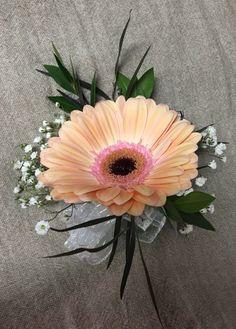 Peach Gerbera Daisy Wrist Corsage