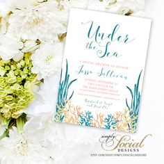Under the Sea Coral Turquoise Printable Beach Bridal Shower Invitation Nautical Watercolor