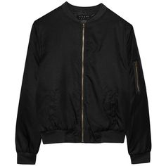Alygne Black Bomber Jacket (£30) ❤ liked on Polyvore featuring outerwear, jackets, bomber jackets, tops, zip jacket, style bomber jacket, flight jacket and blouson jacket