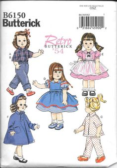 "18/"" Dolls American Girl Doll BRAND NEW uncut Butterick Pattern B 5864 Retro 56"