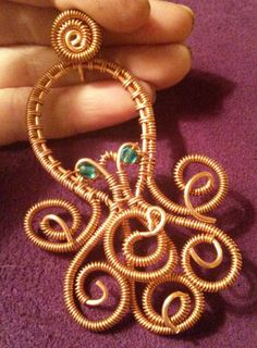 Copper Wire Wrapped Octopus Pendant with Aqua by CPaulDesigns