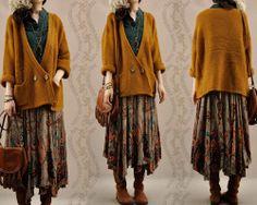 colors autumn human Cotton wool mori girl to wear mori kei aliexpress proabably acrylic sweater Moda Mori, Skirt Outfits, Cute Outfits, Street Style Vintage, Outfits Winter, Mode Hippie, Mori Girl Fashion, Look Retro, Hipster Grunge