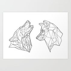 Tattoo Geometric Wolf Wolves Art Prints 50 New Ideas Tattoos 3d, Wolf Tattoos, Trendy Tattoos, Animal Tattoos, Geometric Art Tattoo, Geometric Drawing, String Art, Wolves Art, Art Prints