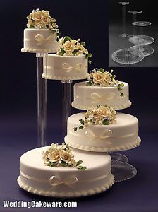 Cake stands. Do you like this layout? then have a waterfall going into a pond?