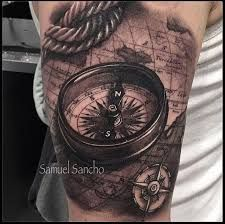 90 Artistic and Eye-Catching Compass Tattoo Designs - Tattoos - Map Tattoos, Body Art Tattoos, Sleeve Tattoos, Cool Tattoos, Amazing Tattoos, Tattoo Art, Tatoos, Pirate Tattoo, Future Tattoos