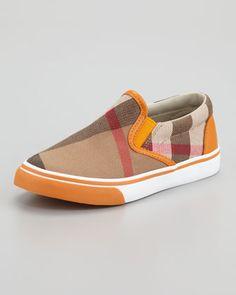 Orange Check Slip On Sneaker, Toddler Sizes by Burberry at Neiman Marcus. Stylish Boys, Kids Sneakers, Vans Classic Slip On, Shoe Game, Neiman Marcus, Burberry, Kids Fashion, Orange, Check