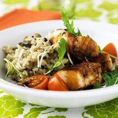 » Baconrullad kycklingfilé med svamprisotto