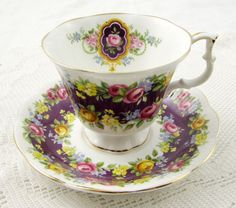 "Royal Albert Garland Series ""Radiance"" Purple and Floral Tea Cup and Saucer"