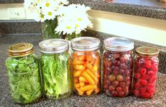 Convenience snacks!!! I like the glass jar idea for storing fruits and veggies in the fridge!