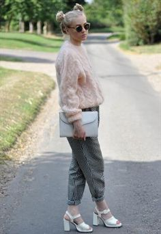 Vintage High Waisted Cigarette Trousers and fluffy jumpers