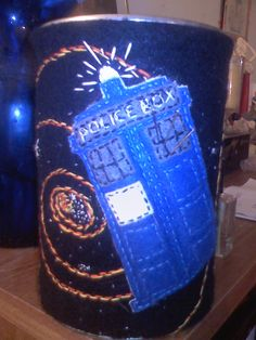Tardis flying through space pincushion/container (embroidered on felt)