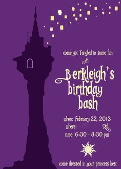 Here is the invitation I made for Berkleigh's Party. Monkey Birthday, Birthday Bash, Birthday Party Invitations, Birthday Party Themes, Rapunzel Birthday Party, Tangled Party, Matilda, Happy 1st Birthdays, Tangled Birthday